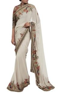 Chiffon kashmiri floral embroidered sari with blouse