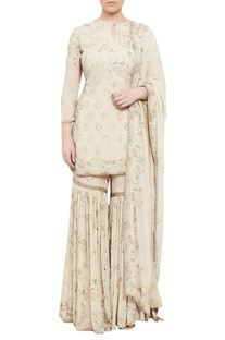 Chikankari embroidered kurta & sharara set