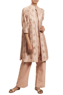 Embroidered jacket kurta with flared pants