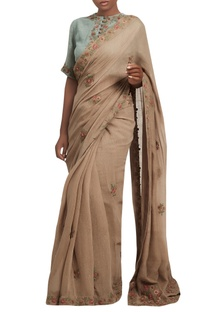 Embroidered sari with frill sleeves blouse