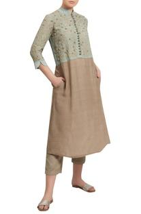 Embroidered yoke kurta with pants