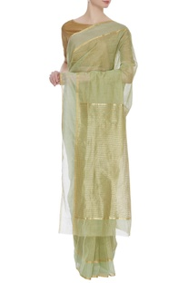 Tissue chanderi zari sari with unstitched blouse