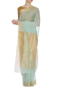 Chanderi sari with gold tissue pallu & unstitched blouse