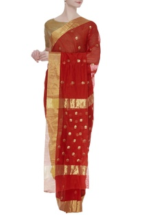Chanderi sari with zari flowers & unstitched blouse