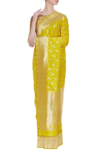 Parrot motif banarasi silk sari with unstitched blouse
