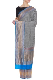 Checkered banarasi silk sari with blue palla & border