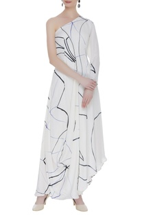 Hand printed asymmetric maxi dress