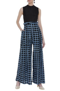 Checkered ruffle waist jumpsuit