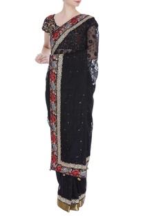 Zardozi embroidered sari with blouse