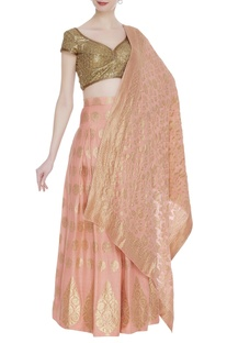 Sequin embroidered blouse with banarasi lehenga & dupatta
