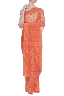 Sari with floral embroidered blouse