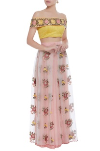 Off shoulder blouse with floral embroidered lehenga