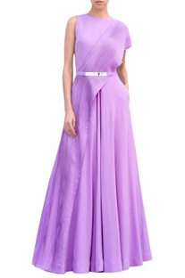 Georgette pleated floor length gown