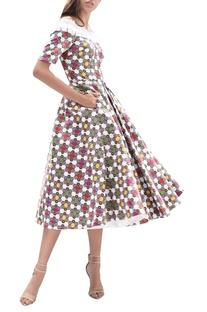 Pleated printed midi dress