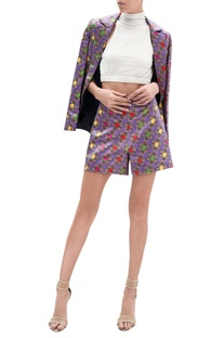 Printed satin shorts