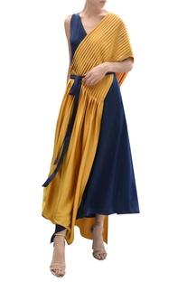 Colour block draped dress
