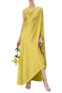 Draped satin maxi dress