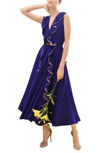 Ruffle detail draped midi dress
