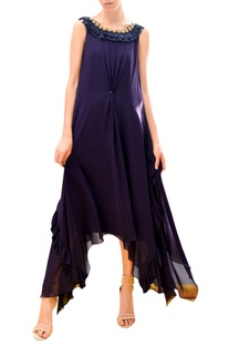 Hand embroidered asymmetric dress