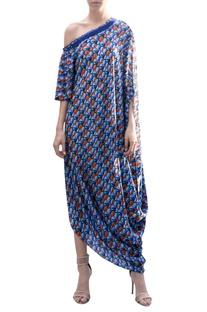 Cowl draped printed dress