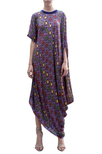 Draped all over print dress