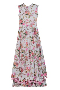 Flower print dress with back bow
