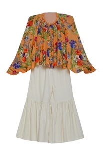 Printed asymmetric tunic with sharara pants