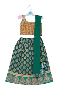 Brocade lehenga with sleeveless blouse and dupatta