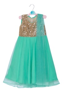 Sequin embroidered anarkali with attached dupatta