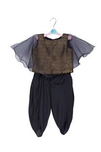 Flared sleeves top with dhoti pants