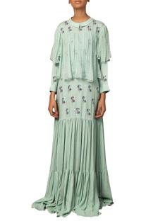 Pleated & printed maxi dress