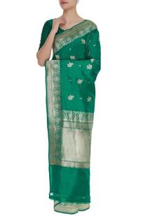 Rose mulberry silk sari & unstitched blouse