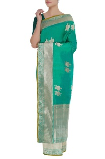 Woven pure mulberry silk sari with unstitched blouse