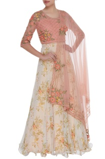 Floral printed lehenga with hand embroidered blouse & dupatta