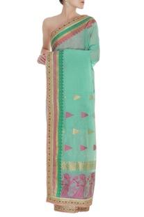 Banarsi sari with unstitched blouse fabric