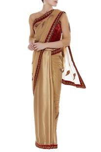 Hand embroidered zardozi applique leaves drape sari with blouse
