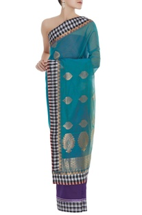 Chanderi sari with unstitched brocade blouse fabric