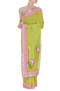 Chanderi sari with unstitched block printed blouse fabric