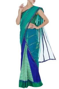 Pre pleated skirt with handmade brocade ribbon drape sari