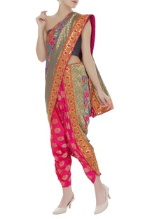 Brocade draped sari with dhoti pants & unstitched blouse fabric