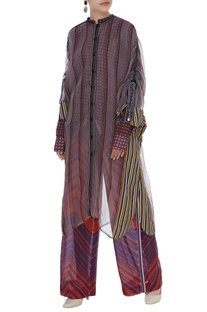 Printed shirt & pant with sheer cape set
