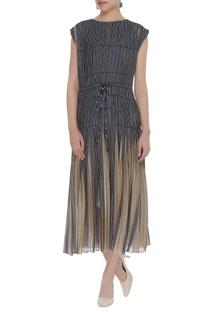Micro pleated midi dress