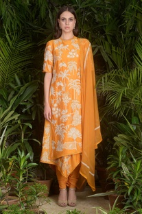 Wrap style embroidered kurta set