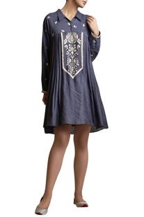 Silk thread embroidered tunic dress