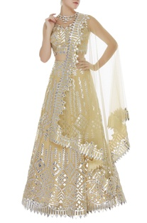 Organza applique lehenga set
