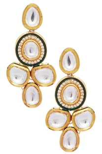 Mixed metal kundan earrings