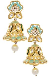 Jhumka meena work earrings