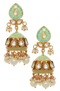 Meenakari jhumka earrings with pearl drops
