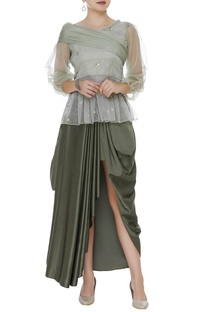 One shoulder embroidered top with cowl skirt