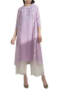 Embroidered kurta with jacket & palazzo